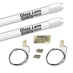 Single End Bulk LED T8 FROSTED shatterproof glass lens Type B, 4ft. 18watt, 2 tube complete retrofit kit 5000K Cool White Color G13
