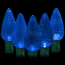 Led Blue Christmas Lights 50 C9 Faceted Led Bulbs 8 Spacing 34 2ft Green Wire 120vac