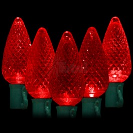 LED red Christmas lights string light with 50 C9 red faceted LED lights spaced 8  apart on 34.2ft. green wire for 120VAC indoor / outdoor use. & LED red Christmas lights 50 C9 faceted LED bulbs 8
