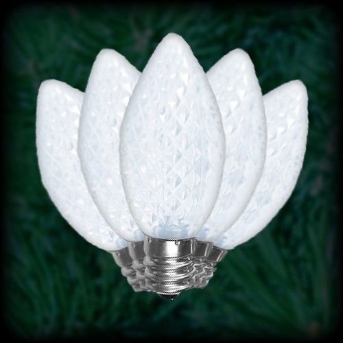 Led Cool White C9 Christmas Bulbs Faceted Replacement Spare 25 Pack 120vac