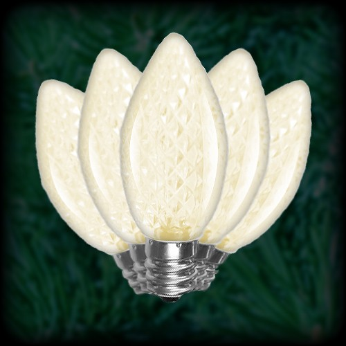 led warm white c7 christmas bulbs faceted replacement spare 25 pack 120vac