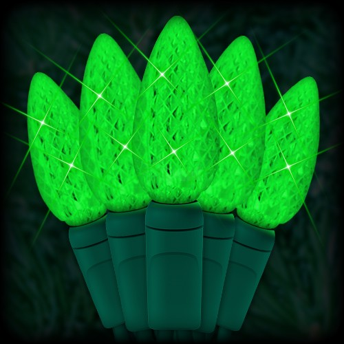 "LED green Christmas lights 50 C6 LED strawberry style bulbs 6"" spacing, 23ft. green wire, 120VAC"