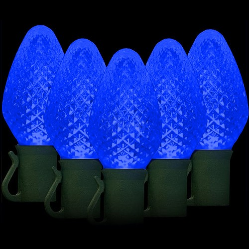 led blue christmas lights 50 c7 faceted led bulbs 8 spacing 342ft green wire 120vac