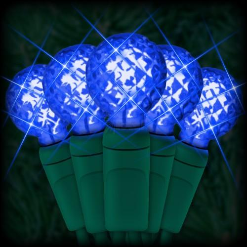 led blue christmas lights 50 g12 mini globe led bulbs 4 spacing 17ft green wire 120vac