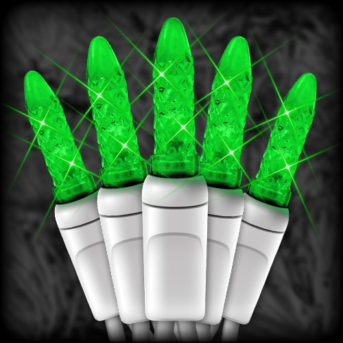 led green christmas lights 50 m5 mini led bulbs 6 spacing 23ft white wire 120vac