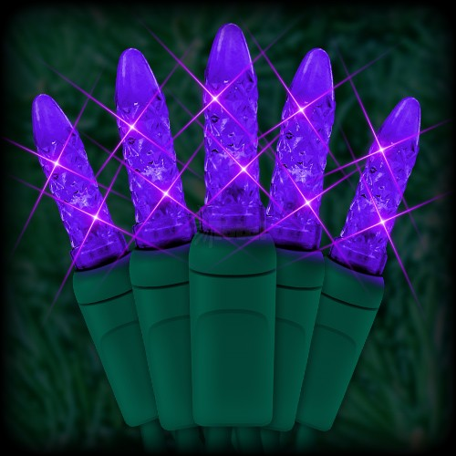 Led Purple Christmas Lights 50 M5 Mini Led Bulbs 6 Spacing 23ft Green Wire 120vac