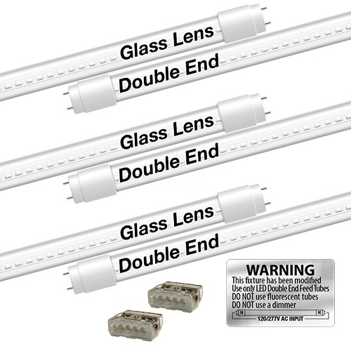 EZ LED T8 CLEAR glass retrofit kit fits 3 tube 4-foot light, Type-B, Double  End 5000K Cool White Color