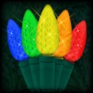 "LED multi color Christmas lights 50 C6 LED strawberry style bulbs 6"" spacing, 23ft. green wire, 120VAC"