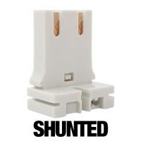 SHUNTED low profile Bi-Pin straight slide on tombstone socket for T12 or T8 lights 20 gauge metal