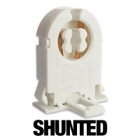 SHUNTED short Bi-Pin rotary lock snap in tombstone socket without Nib for T12 or T8 lights 20 gauge metal