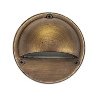 Outdoor low voltage hood solid cast brass round surface step light