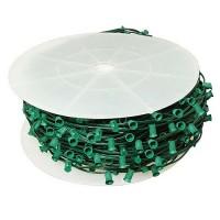 """LED green C9 Christmas light bulk spool stringer, blank sockets, 12"""" spacing, 1000ft, AWG18, SPT-1 rated, 120VAC"""