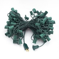 """CLEARANCE LED green C9 Christmas light stringer, blank sockets, 12"""" spacing, 100ft, AWG18, SPT-1 rated, 120VAC"""