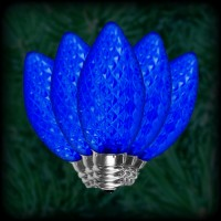 LED blue C9 Christmas bulbs faceted, replacement, spare, 25 pack, 120VAC