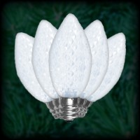 LED cool white C9 Christmas bulbs faceted, replacement, spare, 25 pack, 120VAC