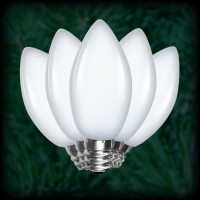LED cool white C7 Christmas bulbs smooth, replacement, spare, 25 pack, 120VAC
