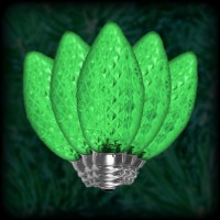 LED green C7 Christmas bulbs faceted, replacement, spare, 25 pack, 120VAC