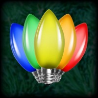 LED multi color C7 Christmas bulbs smooth, replacement, spare, 25 pack, 120VAC