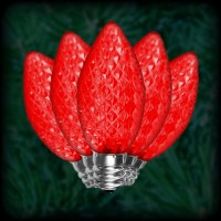LED red C9 Christmas bulbs faceted, replacement, spare, 25 pack, 120VAC
