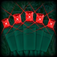 "LED red Christmas lights 50 5mm mini wide angle LED bulbs 2.5"" spacing, 12ft. green wire, 120VAC"