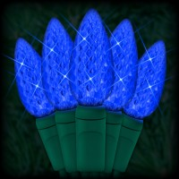 "LED blue Christmas lights 50 C6 LED strawberry style bulbs 6"" spacing, 23ft. green wire, 120VAC"
