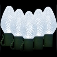 """LED cool white Christmas lights 50 C7 faceted LED bulbs 8"""" spacing, 34.2ft. green wire, 120VAC"""