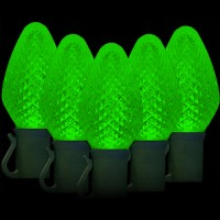 "LED green Christmas lights 50 C7 faceted LED bulbs 8"" spacing, 34.2ft. green wire, 120VAC"
