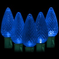 "LED blue Christmas lights 50 C9 faceted LED bulbs 8"" spacing, 34.2ft. green wire, 120VAC"