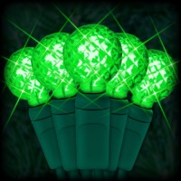 "LED green Christmas lights 50 G12 mini globe LED bulbs 4"" spacing, 17ft. green wire, 120VAC"