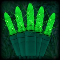 "LED green Christmas lights 50 M5 mini LED bulbs 2.5"" spacing, 12ft. green wire, 120VAC"