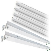 Bulk LED T12 8ft. FROSTED shatterproof glass lens 5000K 4 lamp complete retrofit tube kit Cool Bright White light