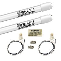 LED T8 4ft. 18watt FROSTED shatterproof glass lens retrofit G13 base 2 lamp complete retrofit kit 5000K Cool White LED