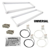 Bulk LED T8 Universal U-bend FROSTED lens 2 lamp complete retrofit kit 4000K Natural White light