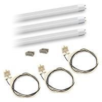 Bulk LED T8 4ft. 18watt CLEAR plastic Lens LED G13 base 3 lamp complete retrofit kit 4000K Natural White Color