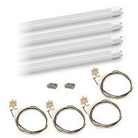 Bulk LED T8 4ft. 18watt CLEAR plastic Lens LED G13 base 4 lamp complete retrofit kit 4000K Natural White Color