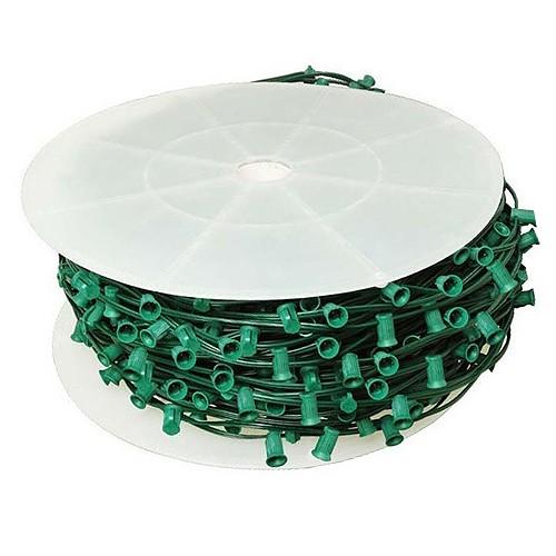 size 40 22476 e01e2 LED green C9 Christmas light bulk spool stringer, blank sockets, 12