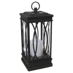 Malibu 8519-3511-01 LED solar black decorative lantern light in wrought iron finish