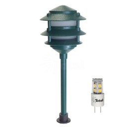 Outdoor LED landscape lighting green 3-tier pagoda path light warm white low voltage
