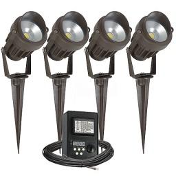 Outdoor LED landscape lighting kit, four spot lights, 45watt power pack photocell, digital timer, 80-foot cable