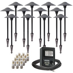 Outdoor LED landscape lighting path kit, 12 path lights, 45watt power pack photocell, digital timer, 80-foot cable