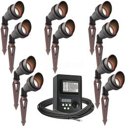 Outdoor LED landscape lighting spot kit, 10 spot lights, 45watt power pack photocell, digital timer, 160-foot cable