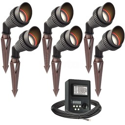 Outdoor LED landscape lighting spot kit, 6 spot lights, 45watt power pack photocell, digital timer, 80-foot cable