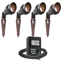 Outdoor LED landscape lighting spot kit, 4 spot lights, 45watt power pack photocell, digital timer, 80-foot cable