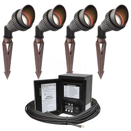 Outdoor LED flagpole lighting spot kit, 4 spot lights, 45watt power pack photocell, digital timer, 80-foot cable