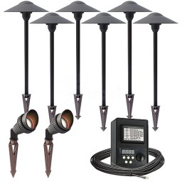 Outdoor LED landscape lighting spot path kit, 2 spot lights, 6 path lights, 45watt power pack photocell, digital timer, 80-foot cable