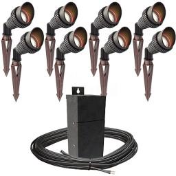 Outdoor Pro LED landscape lighting 8 spot light kit EMCOD 100watt power pack photocell, mechanical timer, 160-foot cable