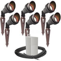 Outdoor Pro LED landscape lighting 6 spot light kit EMCOD 100watt power pack photocell, mechanical timer, 80-foot cable