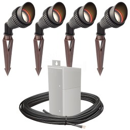 Outdoor Pro LED landscape lighting 4 spot light kit EMCOD 100watt power pack photocell, mechanical timer, 80-foot cable