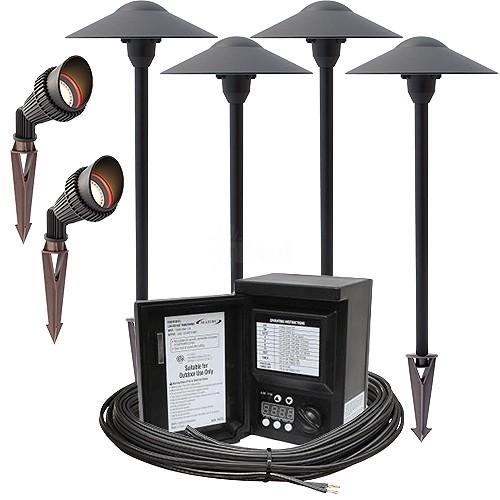 Outdoor LED Landscape Lighting Spot Path Kit, 2 Spot Lights, 4 Path Lights,  Malibu 45watt Power Pack Photocell, Digital Timer, 80 Foot Cable