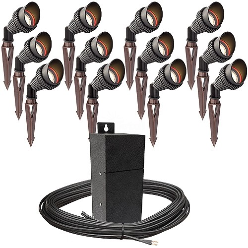 Outdoor pro led landscape lighting 12 spot light kit emcod 100watt outdoor pro led landscape lighting 12 spot light kit emcod 100watt power pack photocell mechanical timer 160 foot cable aloadofball Choice Image